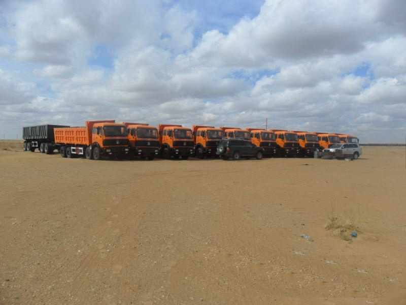 20 units beiben 50 T dump trucks are sent to mogolia customer at ERLIANHAOTE